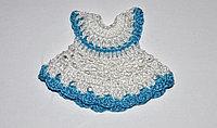 Вязаное платьице - белое с голубым