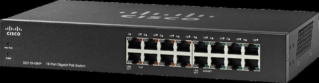 Коммутатор Cisco SG110-16HP-EU