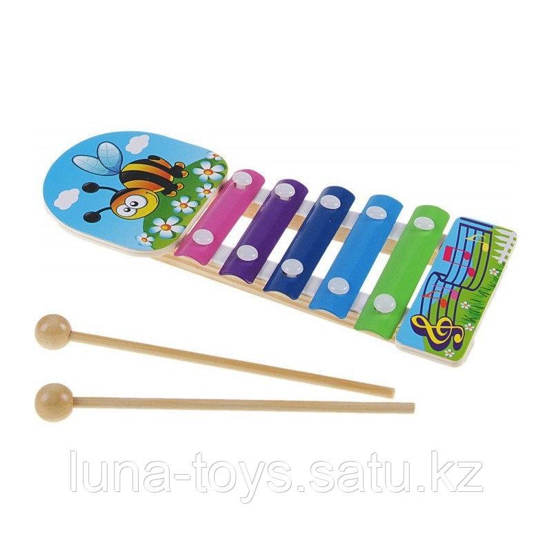 """Металлофон """"Пчелка на полянке"""", 5 тонов + 2 палочки"""