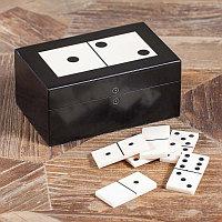 Шкатулка с набором домино Resin Box With Domino Game Black And White