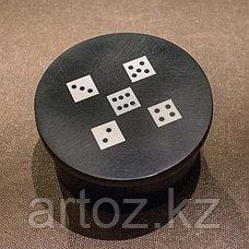 Круглая шкатулка с 5 игральными костями  Resin Round Box With 5 Dices, фото 3