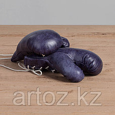 Кожаные боксерские мини-перчатки, синие Sport Boxing Gloves, Library Blue, фото 3