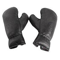 Кожаные боксерские мини-перчатки, чёрные Sport Boxing Gloves, Library Black