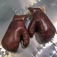 Кожаные боксерские мини-перчатки, коричневые Sport Boxing Gloves, Library Brown