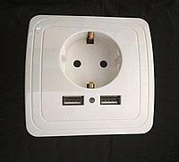 Электрическая розетка с двумя USB 5 В белая, фото 1