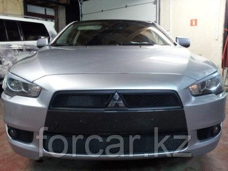 Защита радиатора Mitsubishi Lancer X 2007-2011 (2 части )  black, фото 2