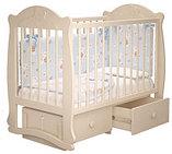 """Кровать детская """"Мишутка 3 """" (Базовая + маятник с ящиком) Можгинский лесокомбинат(белый,сл.кость), фото 7"""