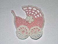 Коляска вязаная - розовая