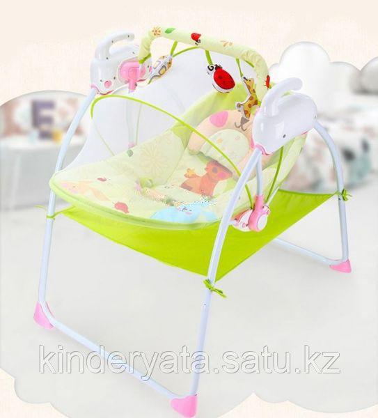 Музыкальные электрокачели Baby cradle (розово-зеленый)