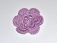 Цветок вязаный трехъярусный - сиреневый