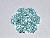 Цветок вязаный трехъярусный - голубой