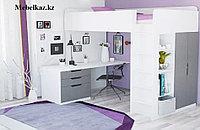 Кровать-чердак с письменным столом и шкафом
