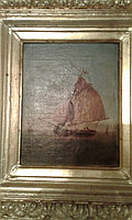 "Антикварная картина ""Парусник в море"" V. Hernsmans"