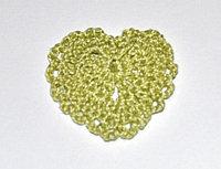 Сердце вязаное - оливковое