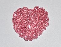 Сердце вязаное -розовое
