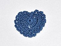 Сердце вязаное - синее