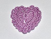 Сердце вязаное - сиреневое