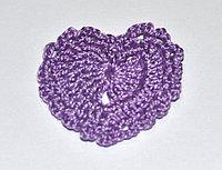 Сердце вязаное - фиолетовое