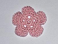 Цветок пятилепестковый вязаный - розовый