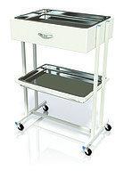 Столик хирургический с 1-им выдвижным ящиком и 2-мя металлическими поддонами (никелированными) СИ-03