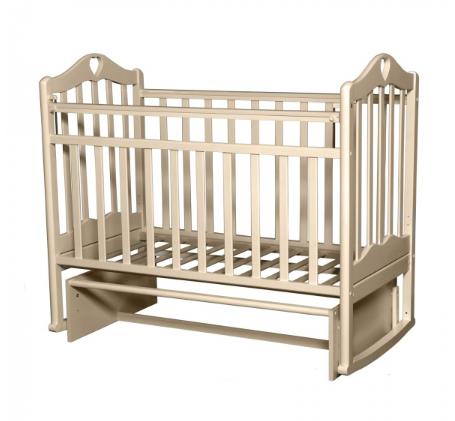 """Кровать детская Антел """"Каролина-3"""", (слоновая кость), состав - дерево (береза), маятник (поперечный)"""