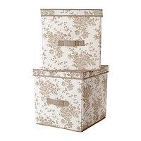 Коробка с крышкой, ГАРНИТУР  бежевый, белый цветок ИКЕА, IKEA