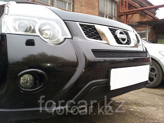 Защита радиатора Nissan X-Trail 2011- black середина, фото 2