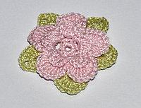 Цветок трехъярусный вязаный - двухцветный (розовый, оливковый)
