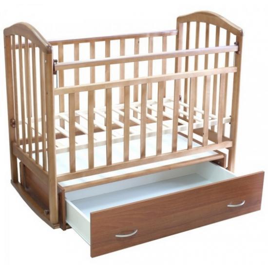 """Кровать детская Антел """"Каролина-4"""", (орех), состав - дерево (береза), маятник (поперечный), ящик под кроватью"""
