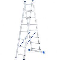 Лестница, 2 секции по 8 ступеней, из алюминия, двухсекционная, СИБРТЕХ, 97908