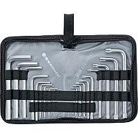 Набор ключей имбусовых HEX-TORX,  18 шт: HEX 1,5–10 мм, T10-T50, CrV, короткие, сатин.// MATRIX