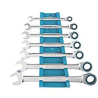 Набор ключей комбинированных с трещоткой, 8 - 19 мм, 7шт., CrV GROSS 14890, фото 1