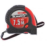 Рулетка Status magnet fixation, 7,5 метров х 25 мм, обрезиненный корпус, зацеп с магнитом, MATRIX 31031