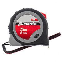 Рулетка Continuous  fixation, 7,5 м х 25 мм, обрезиненный корпус, плавная фиксация// MATRIX