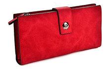 Винтажный красный кошелек визитница на магнитной кнопке