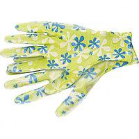 Перчатки садовые из полиэстера с нитриловым обливом, зеленые, S //PALISAD