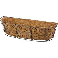 Кашпо пристенное с декором, 74 х 20 см, с кокосовой корзиной, PALISAD, 69014