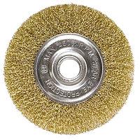 Щетка для УШМ, 100 мм, посадка 22,2 мм, плоская, латунированная витая проволока // MATRIX