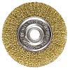 Щетка для УШМ, 150 мм, посадка 22,2 мм, плоская, латунированная витая проволока // MATRIX