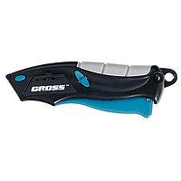 Нож,ремонтно-монтажный МИНИ.трехкомп. рук-ка,авто выброс/возврат лезвия,100мм +2 з.л// GROSS