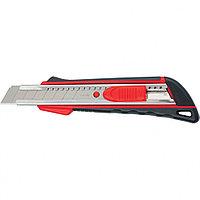 Нож, 18 мм выдвижное лезвие, метал. направляющая, эргоном. двухкомпонентная рукоятка//MTRIX
