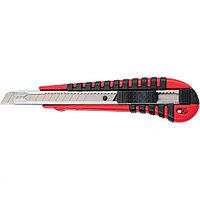 Нож, 9 мм выдвижное лезвие, метал. направляющая, эргономичная двухкомпонентная рукоятка//MATRIX