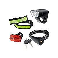 Набор велосипедный : передний и задний фонари Led, светоотражатель и тросовый замок, Stern, 90561