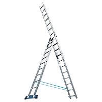 Лестница, 3 секции по 7 ступеней, из алюминия, трехсекционная, Алюмет, 97780