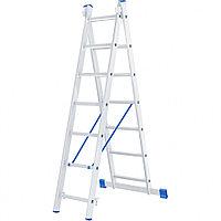 Лестница, 2 секции по 7 ступеней, из алюминия, двухсекционная, СИБРТЕХ, 97907