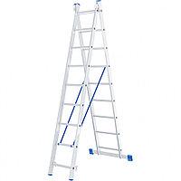 Лестница, 2 секции по 9 ступеней, из алюминия, двухсекционная, СИБРТЕХ, 97909