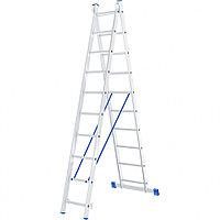 Лестница, 2 секции по 10 ступеней, из алюминия, двухсекционная, СИБРТЕХ, 97910