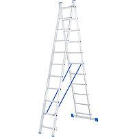 Лестница алюминиевая, 2 секции по 11 ступеней,  двухсекционная СИБРТЕХ 97911