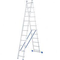 Лестница, 2 секции по 12 ступеней, из алюминия, двухсекционная, СИБРТЕХ, 97912