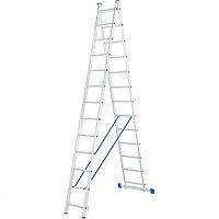 Лестница, 2 секции по 13 ступеней, их алюминия, двухсекционная, СИБРТЕХ, 97913